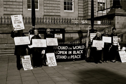 The danger in peaceful protest: Women in Black - Princes Street, Edinburgh, UK.